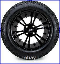 MODZ 14 Vampire Glossy Black Golf Cart Wheels and Tires (205-30-14) Set of 4