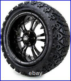 MODZ 14 Vampire Glossy Black Golf Cart Wheels and Tires (23x10.00-14) Set of 4