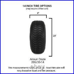 MODZ 14 Vortex Glossy Black Golf Cart Wheels and Tires (205-30-14) Set of 4