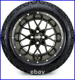 MODZ 14 Vortex Matte Black Golf Cart Wheels and Tires (23x10.00-14) Set of 4