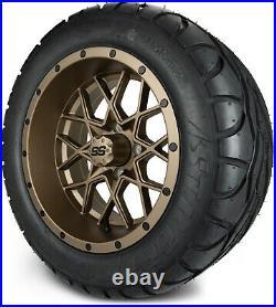 MODZ 14 Vortex Matte Bronze Golf Cart Wheels and Radial Tires (23x10-14)