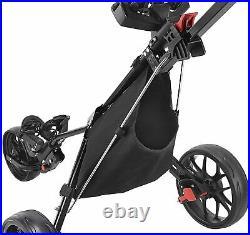 NEW CaddyTek Deluxe 3 Wheel Golf Push Pull Cart CaddyLite 11.5 V3 Black IN HAND