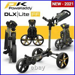PowaKaddy DLX-Lite FF Flat Fold Golf Push Cart Gunmetal Yellow NEW! 2021