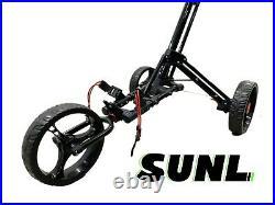 SUNL 3 Big Wheel Easy Control Heavy Duty Foldable Golf Push Cart