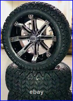 SUPER SALE 14 Tempest Machined Black Golf Cart Wheels with 23 ALL TERRAIN