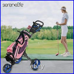 SereneLife SLG3W Foldable Lightweight 3-Wheel Golf Push Cart With Elastic Strap