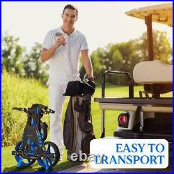 SereneLife SLGCFLW 3 Wheel Walking Golf Bag Push Cart Holder with Elastic Strap