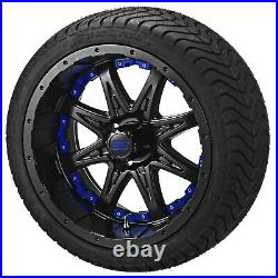 Set 12 Aluminum Alloy Golf Cart Car Rims Wheels & Tires Mounted Green Purple