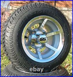 Set (4) 10 ITP SS HD Aluminum Golf Cart Car Rim Wheel & 205-50-10 Tires Mounted