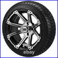 Set (4) 14 SS Aluminum Alloy Golf Cart GEM NEV Car Rim Wheels & 185/60-14 Tires