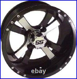 Set (4) 14 SS Aluminum Alloy Golf Cart GEM NEV Car Rim Wheels & Low Profile Tire