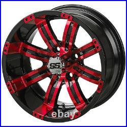 Set (4) red blue white 12 Golf Cart Car Wheels & 23 All ATX Trail Terrain Tires
