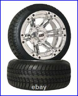 Set of (4) 12 Chrome SS Golf Cart Car SS212 SS112 Wheels & Low Profile Tires