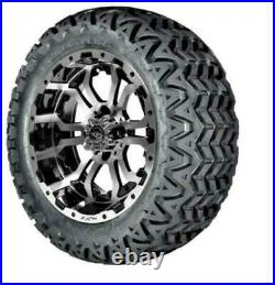 Set of 4 GTW 14 Omega Black/Machined Lifted Golf Cart Wheels on 23 A/T Tires