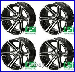 Set of 4 Golf Cart 14x7 Black Machined Yukon Wheel withFREE Freight