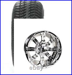 Set of (4) STi 12 Chrome SS Golf Cart Car Rim Wheels & Low Profile Tires