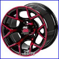 Set red blue white 12 Aluminum Alloy Golf Cart Car Rims Wheels & Tires Mounted
