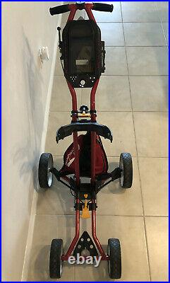 Sun Mountain Micro Four Wheel Push Golf Cart Folding With Bag And Cup Holder