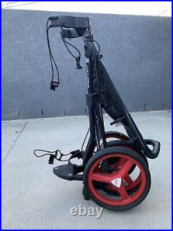 Used Sun Mountain Speed Cart GT Black & Red Push and Pull Cart 3 Wheel Trolley