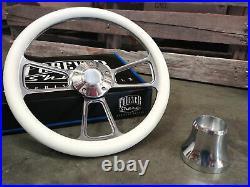 Yamaha Golf Cart White 3 Spoke Billet Aluminum Steering Wheel with Horn & Adapter